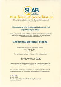 Microbiology & Chemical laboratory Certificate of Accreditation